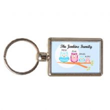Double-Sided Owl Family Keyring - Personalised Birthday Gift